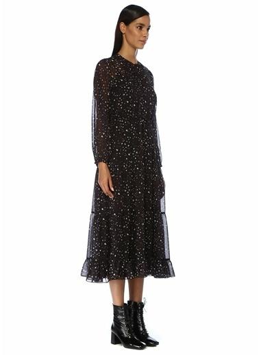 Beymen Club Desenli Uzun Kol Midi Şifon Bohem Elbise Siyah